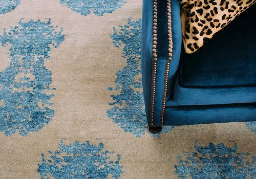 """The French Connection Rug"" from $3,500 – Pure New Zealand Wool and Silk Blend – Hand Knotted – Informal Living Area"